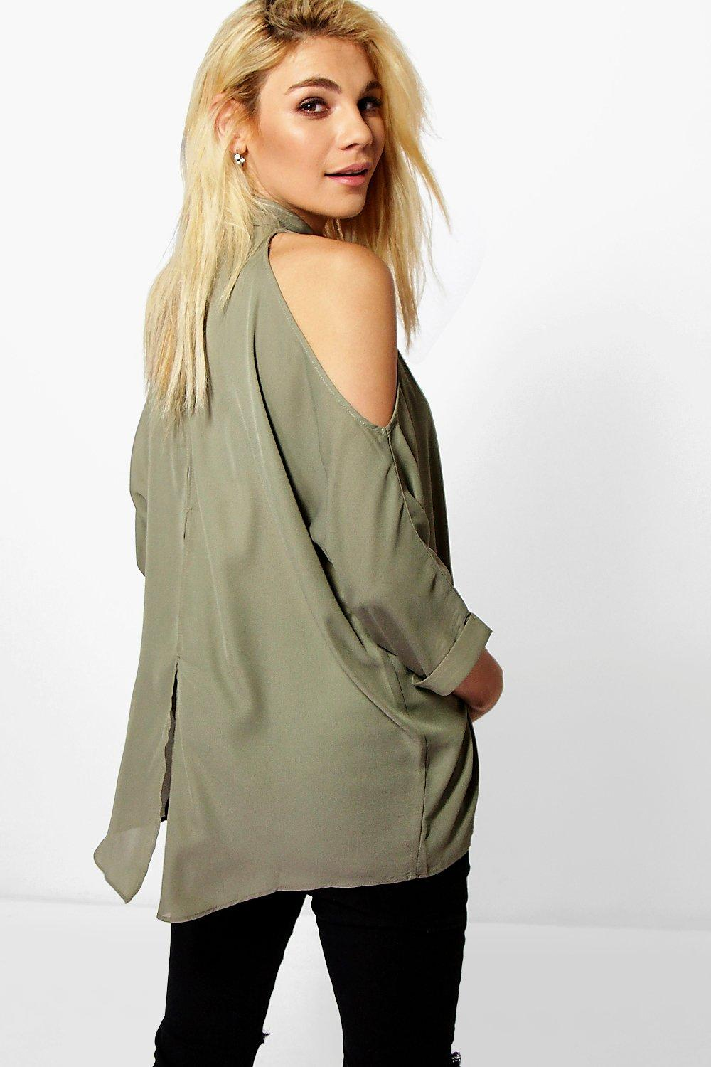 Naomi Cold Shoulder Split Back Shirt