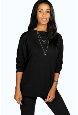 Aine Turtle Neck Oversized Rib Tee