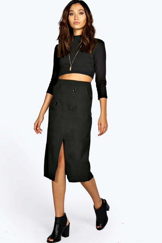 Vera Wrap Over Button Woven Midi Skirt