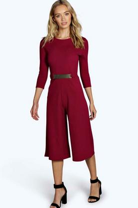 Ella 3/4 Sleeve Plate Belt Tailored Culotte Jumpsuit
