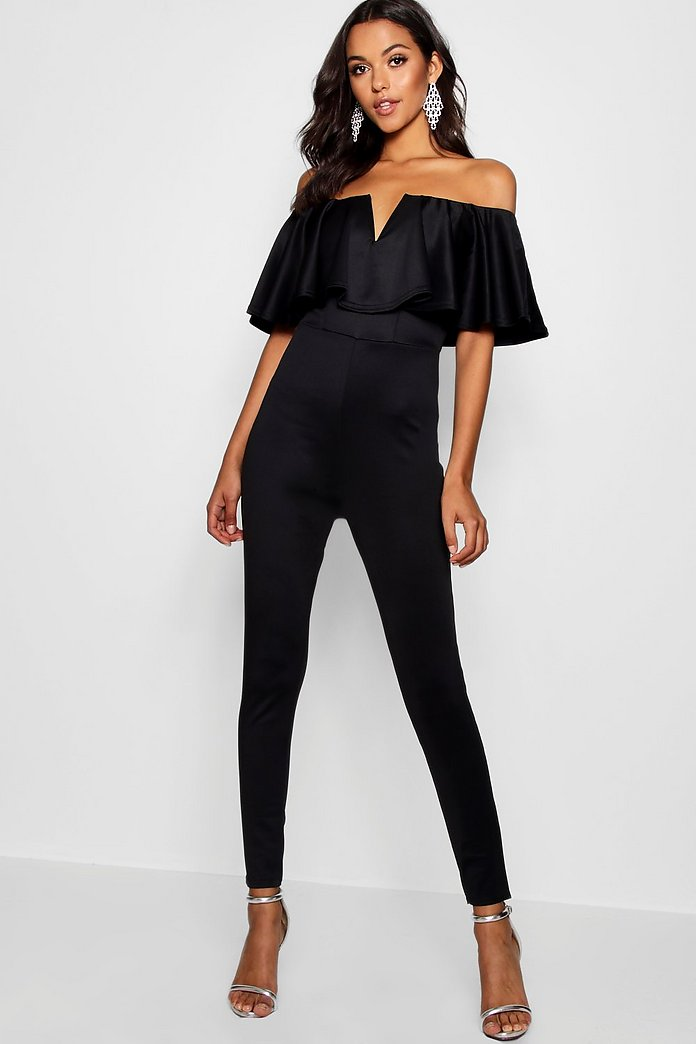 Penny Plunge Frill Jumpsuit