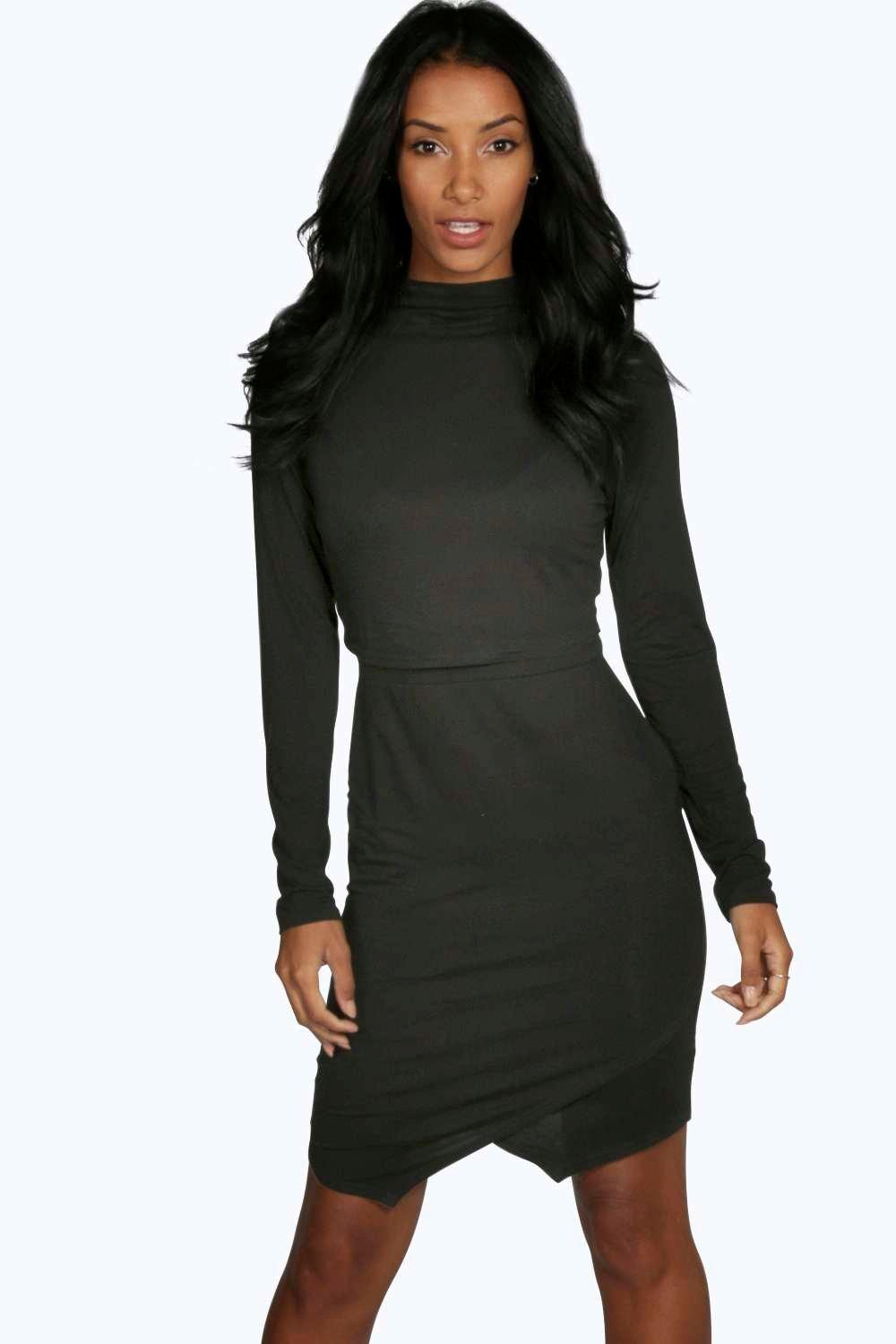 Nina High Neck Asymmetric Double Layer Dress
