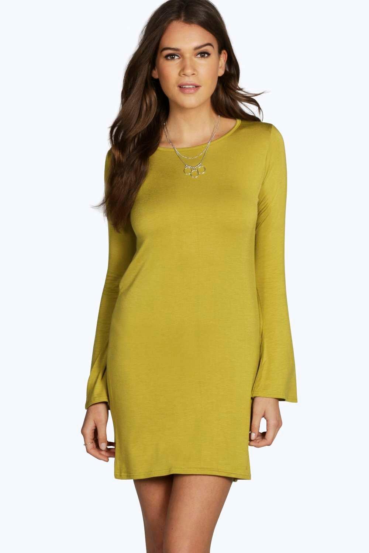 Flared Long Sleeve T-Shirt Dress olive