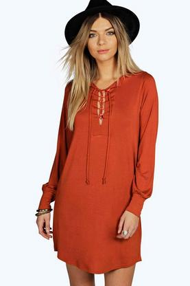 Corelinne Long Sleeve Lace Up Shift Dress