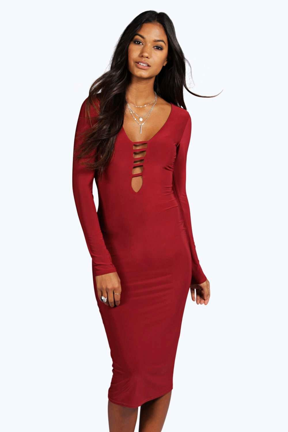 Vicky Strappy Front Long Sleeve Bodycon Dress