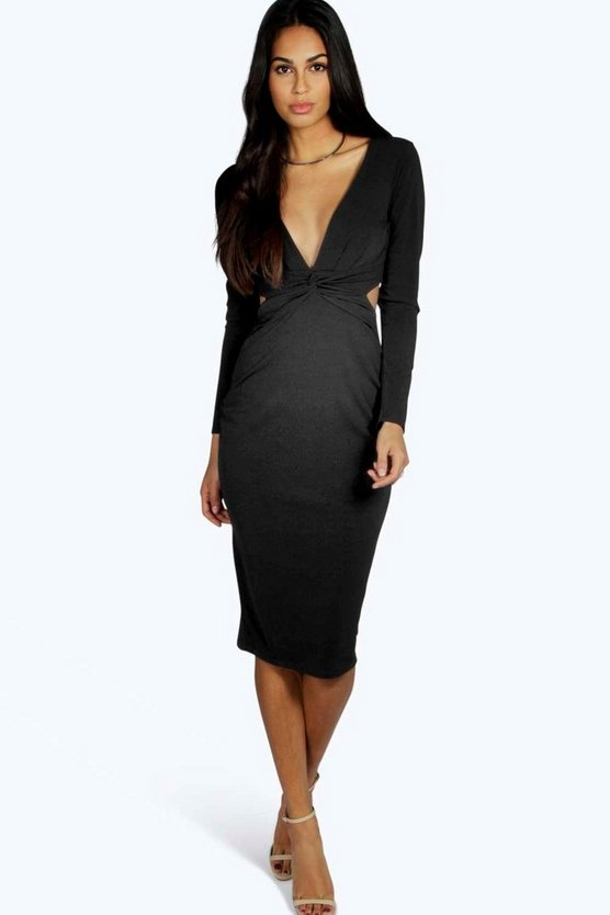 Lorna Twist Cut Out Detail Midi Bodycon Dress