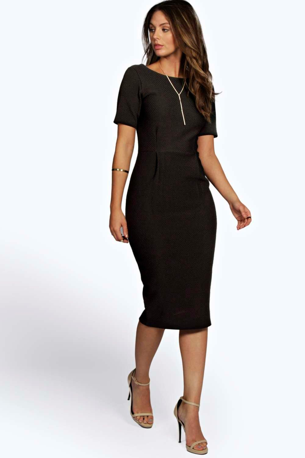 Textured Formal Midi Dress  black