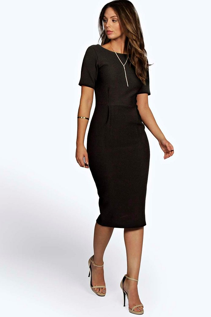 Felicity Textured Formal Midi Dress