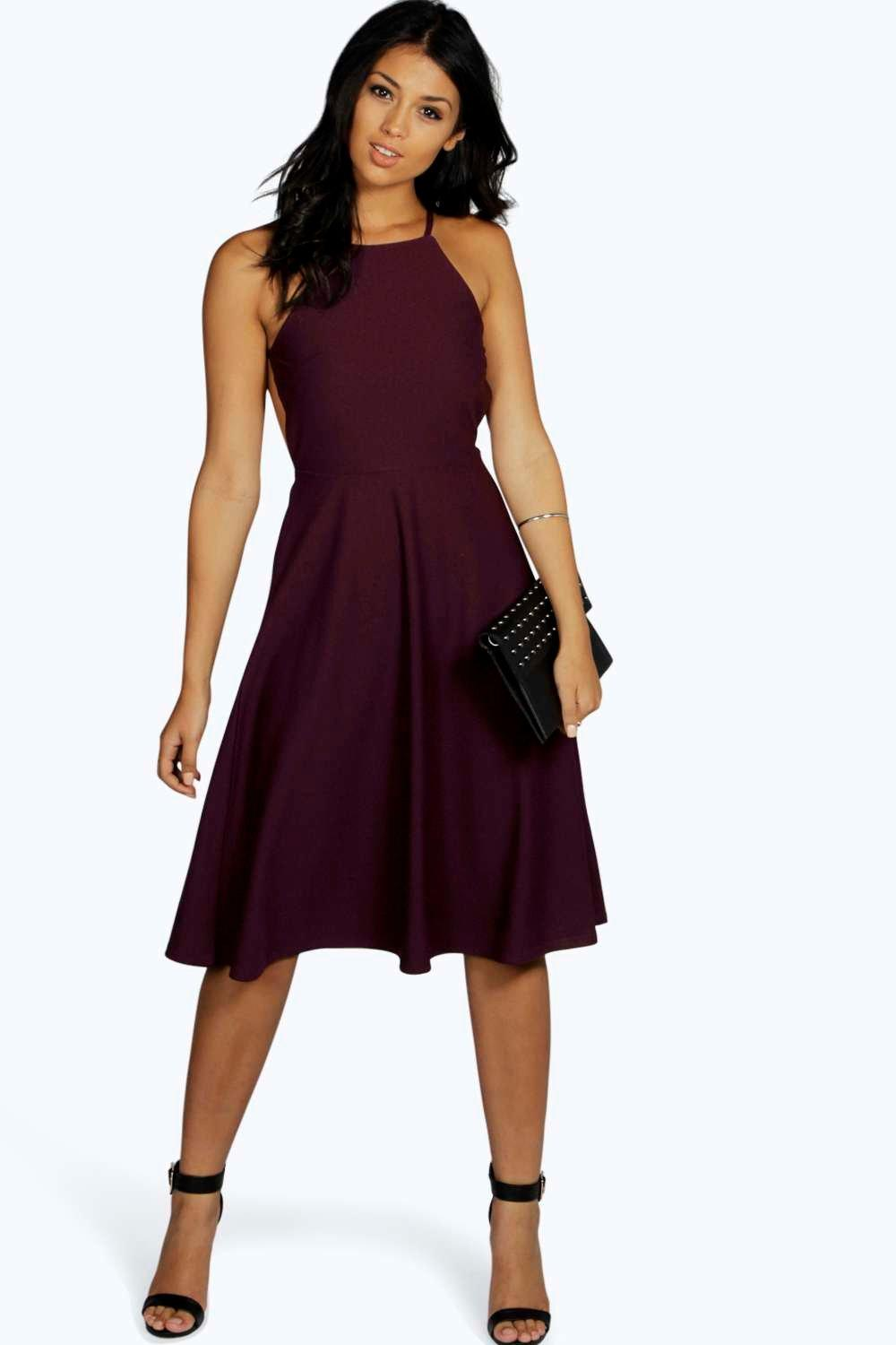 Mary Strappy Backless Midi Skater Dress
