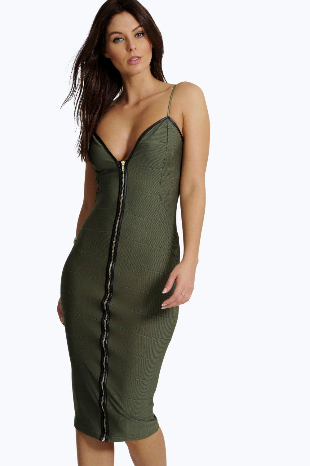 Karina Bandage Zip Through Midi Bodycon Dress