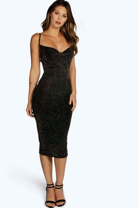 Grace Metallic Strappy Midi Bodycon Dress