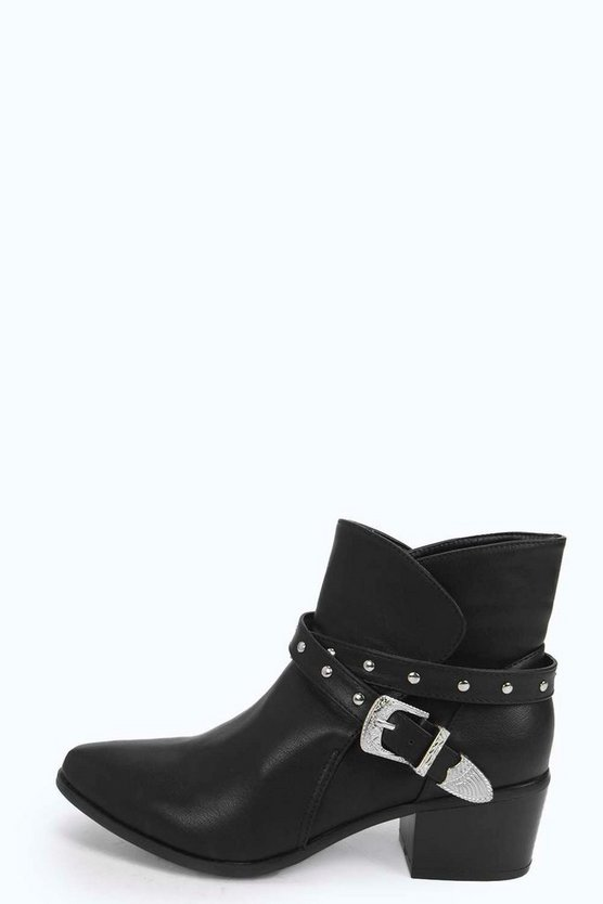 Tia Stud And Buckle Western Boots