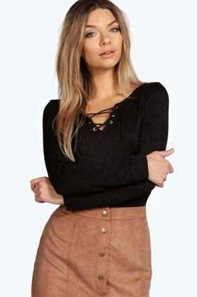 Hope Eyelet Detail Lace Up Long Sleeve Top