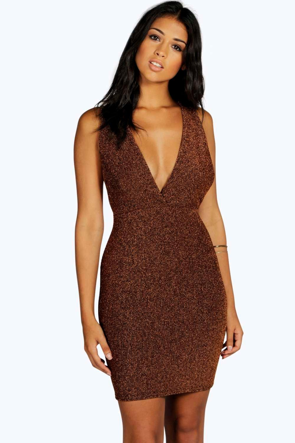 Sarah Metallic Rib Plunge Bodycon Dress