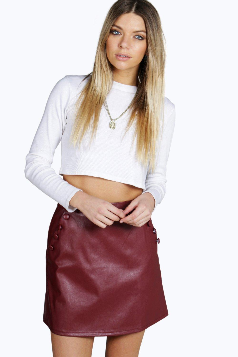 Luella Leather Look Pocket Detail Mini Skirt