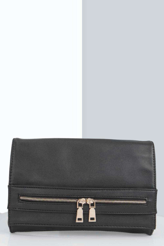 Zip Detail Hand Strap Clutch Bag black