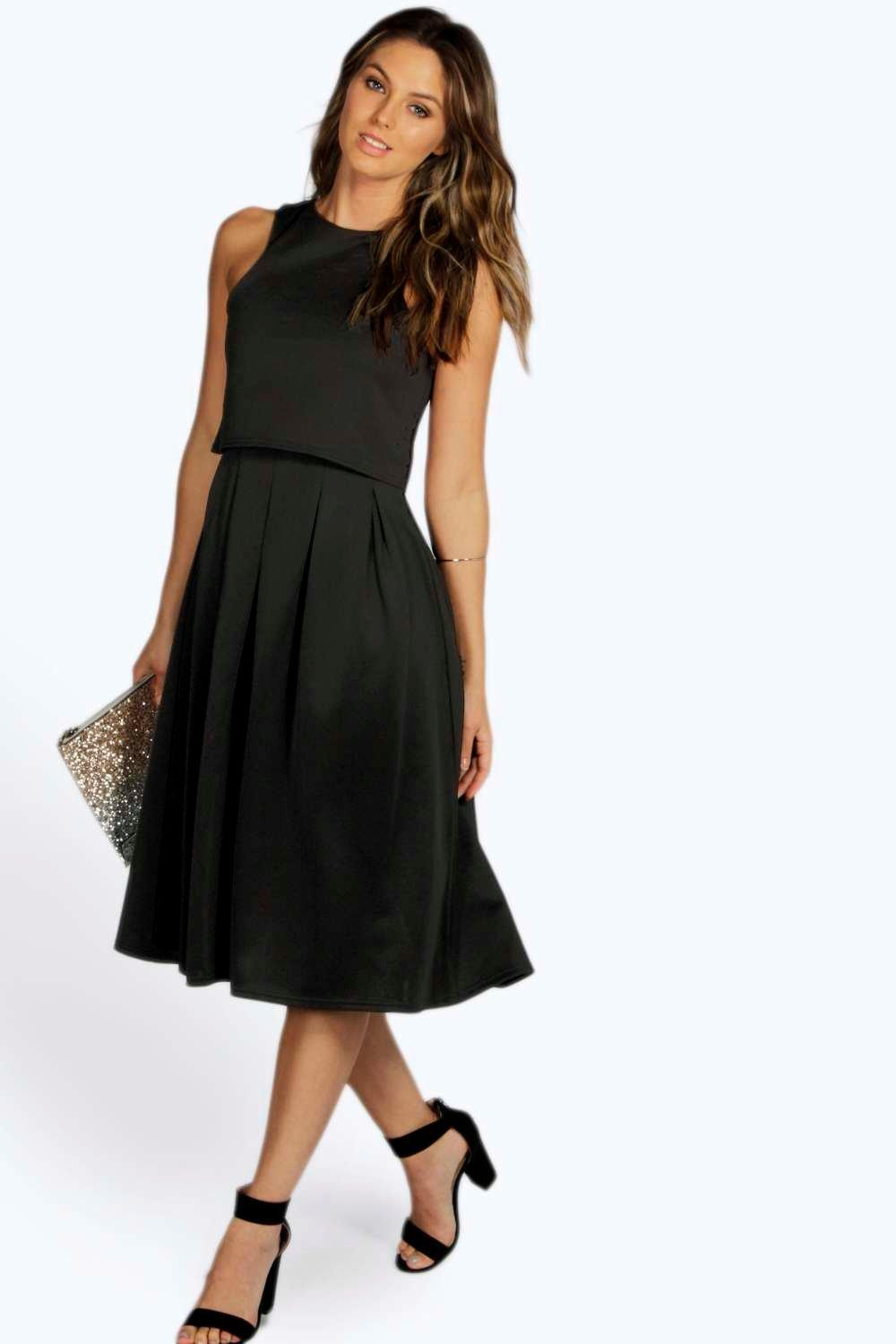 Lizy Double Layer Midi Length Skater Dress