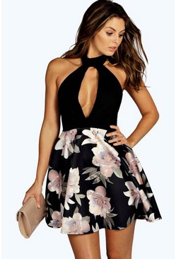 Kim Contrast High Neck Skater Dress