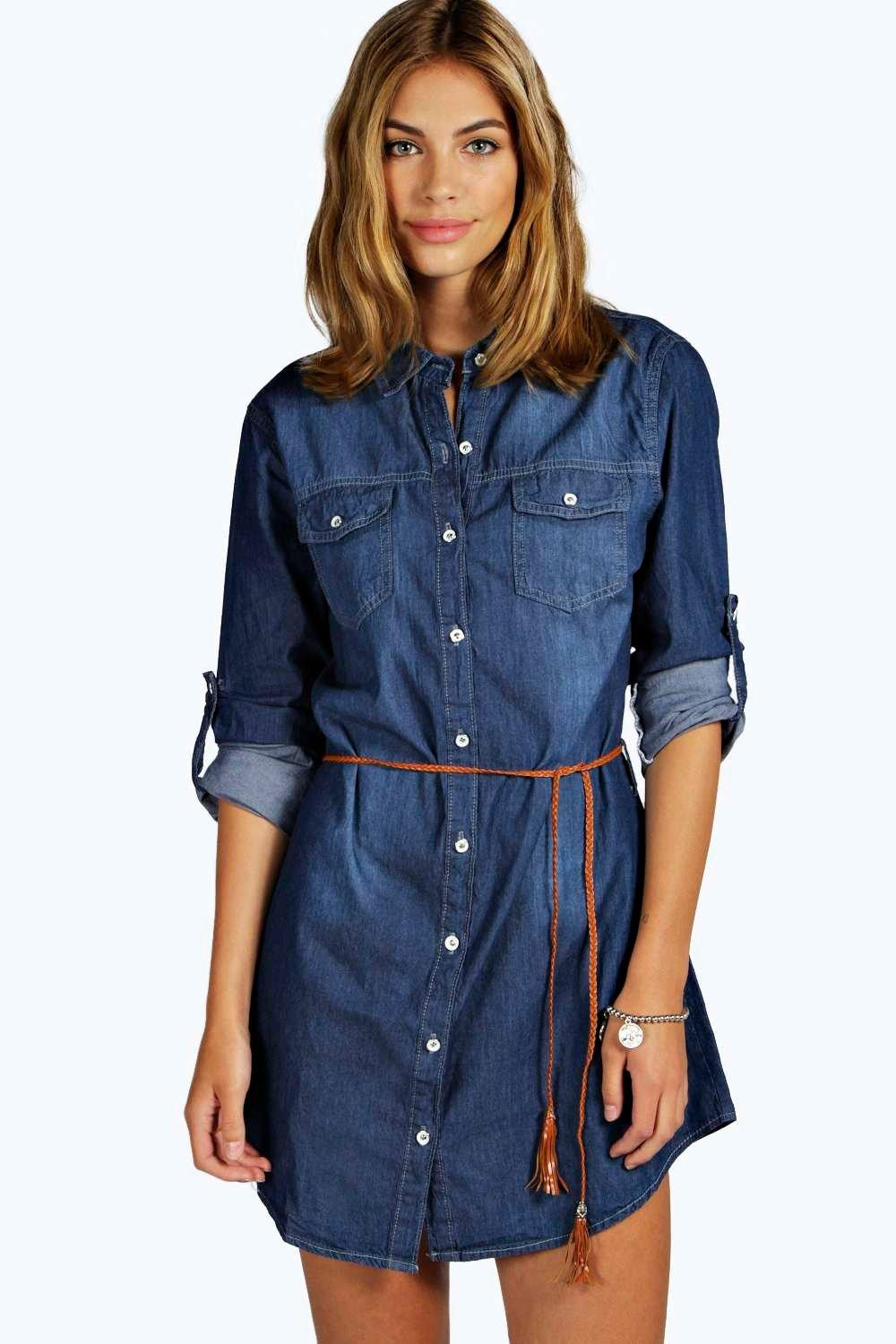 boohoo Bethany Belted Denim Tunic Dress - dark blue