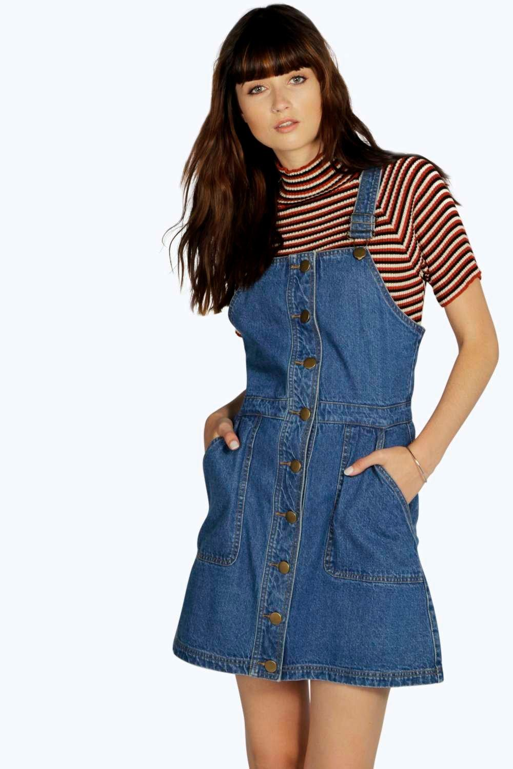 Teresa Buttoned Pocket Denim Pinafore Dress
