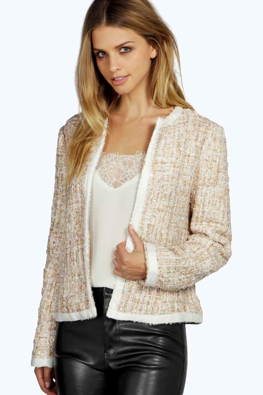 Boohoo Womens Ellie Boucle Metallic Edge TO Edge Jacket