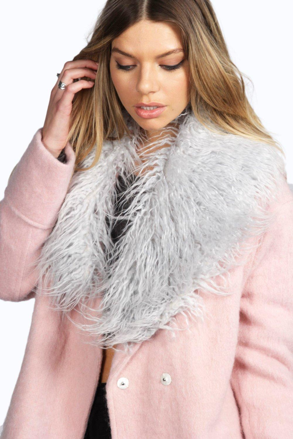 Lydia Mongolian Faux Fur Wide Collar Scarf
