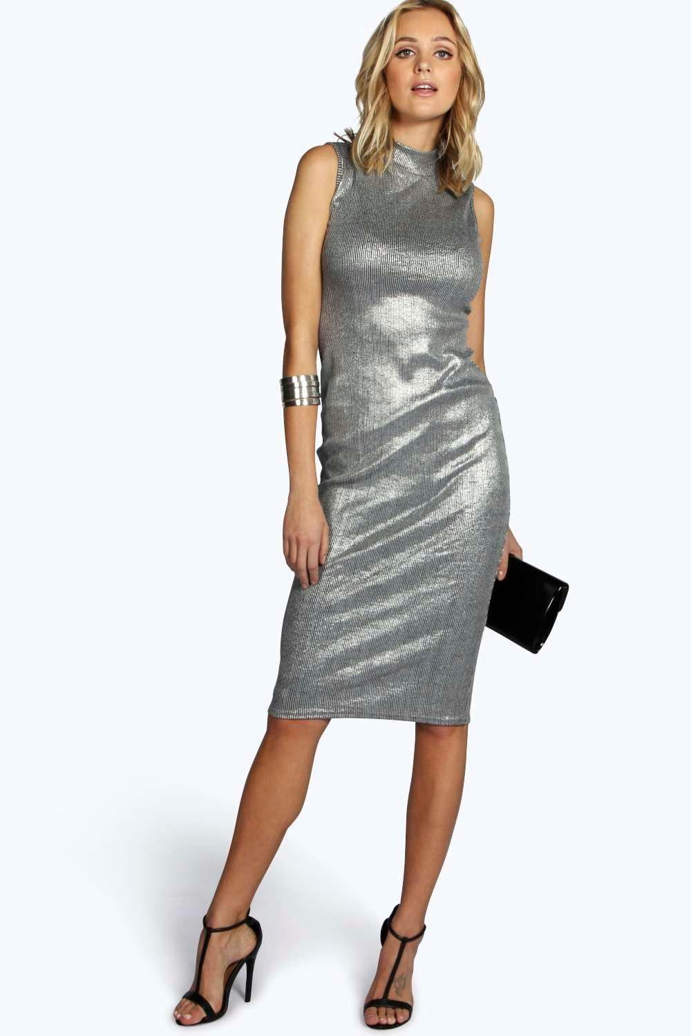 Tall Flora Metallic High Neck Midi Dress