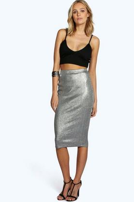 Tall Lydia Metallic Midi Skirt