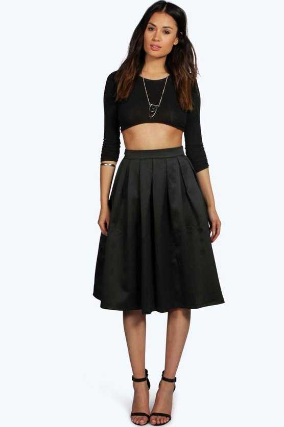 Boutique Marin Pleated Full Midi Skirt   Boohoo
