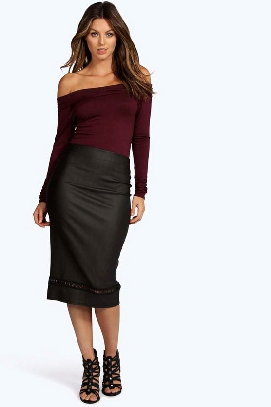 Adalia Leather Look Cut Work Midi Skirt