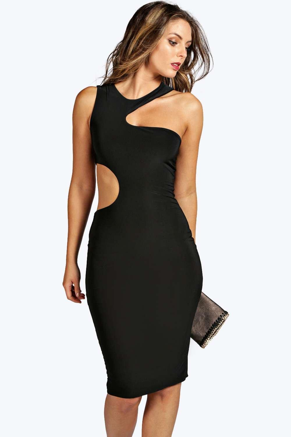 Vanessa Cut Out Slinky Midi Dress
