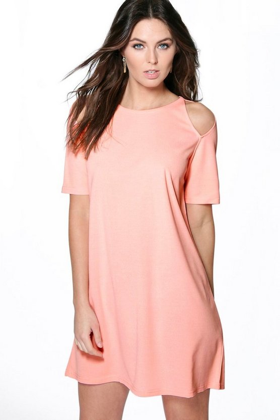 Delia Cut Out Shoulder Shift Dress