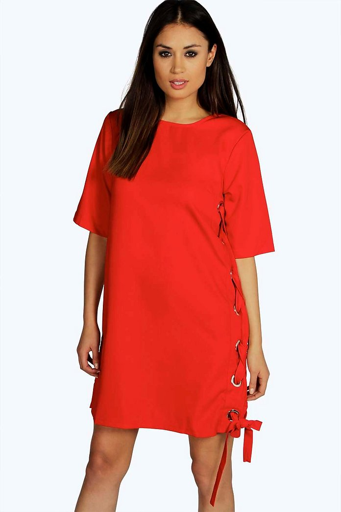 Boutique Olivia Eyelet Tie Side Shift Dress