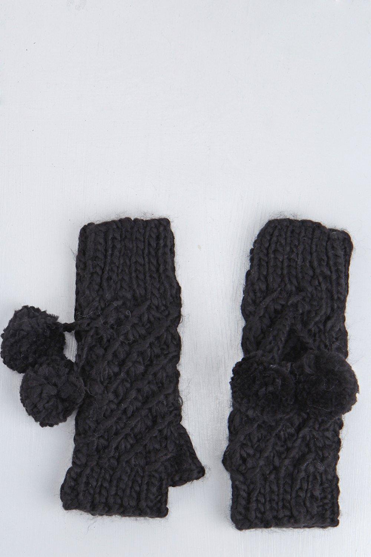 Chunky Knit Fingerless Gloves black