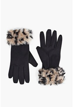 Emma Animal Faux Fur Cuff Gloves
