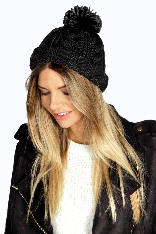 Chunky Knit Bobble Hat  black