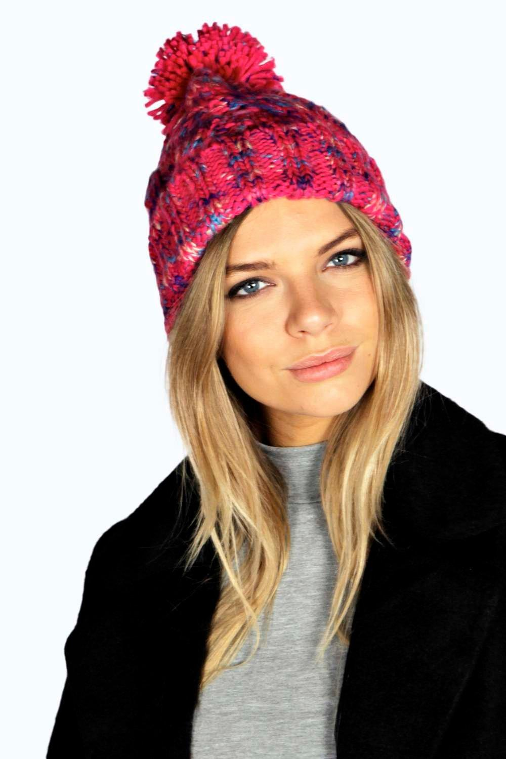 Mixed Yarn Bobble Hat - pink - Stay snug in scarve