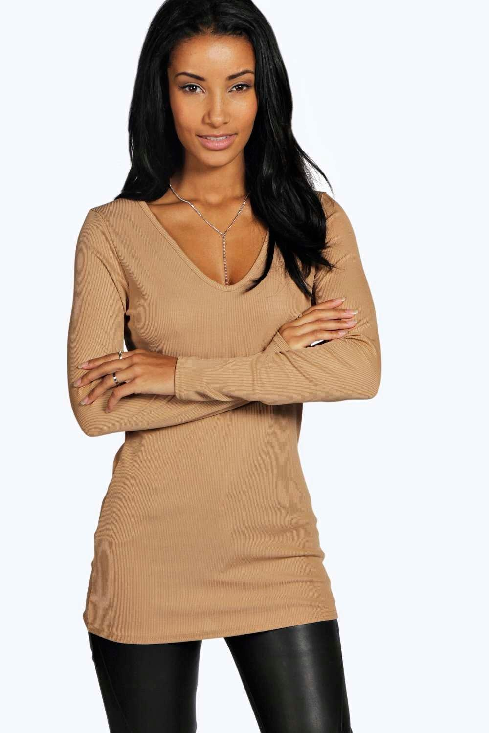 Becca Shiny Rib V Neck Top