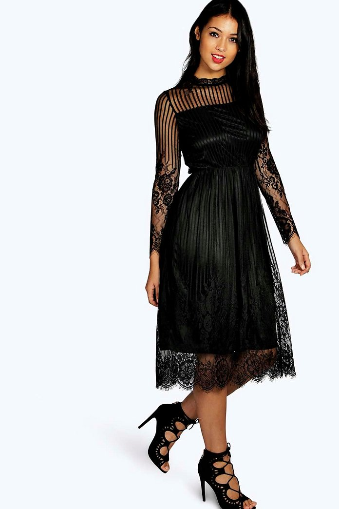 Lucia Lace High Neck Midi Dress