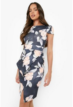 Misty Asymmetric Peplum Floral Print Midi Dress