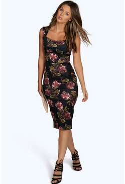 Caty Floral Print Sweetheart Midi Bodycon Dress
