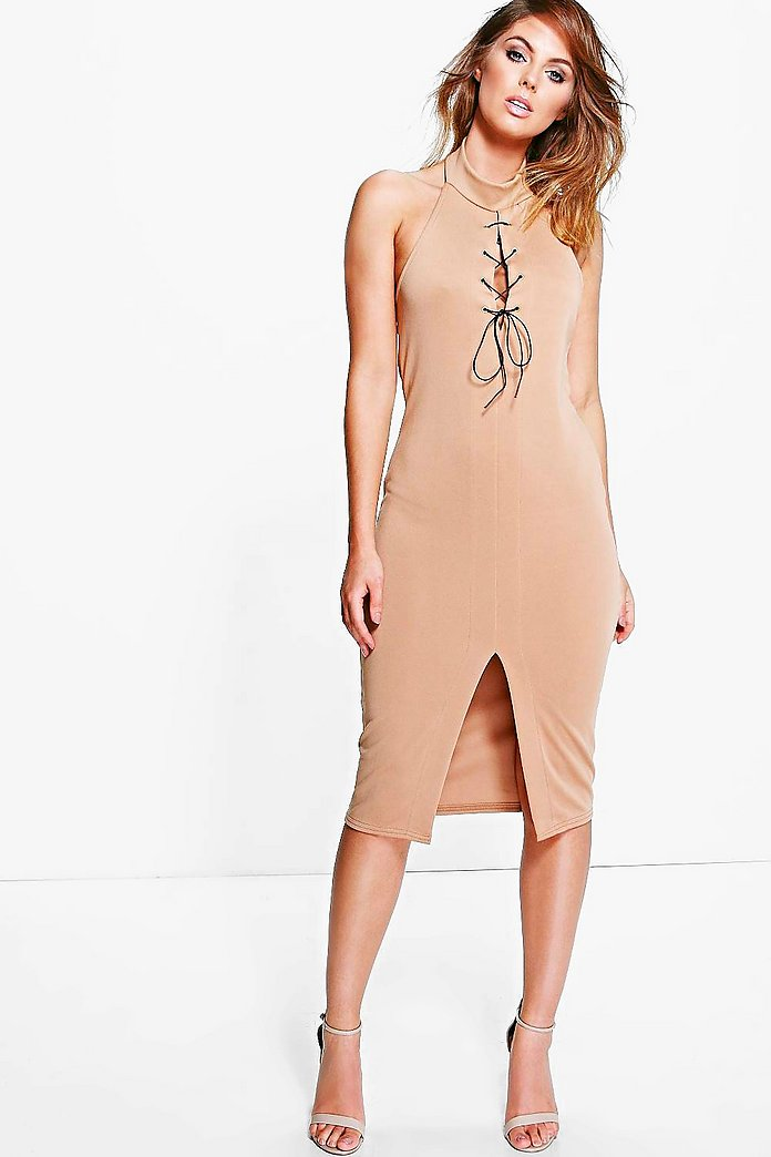 Hannah High Neck Tie Detail Midi Dress