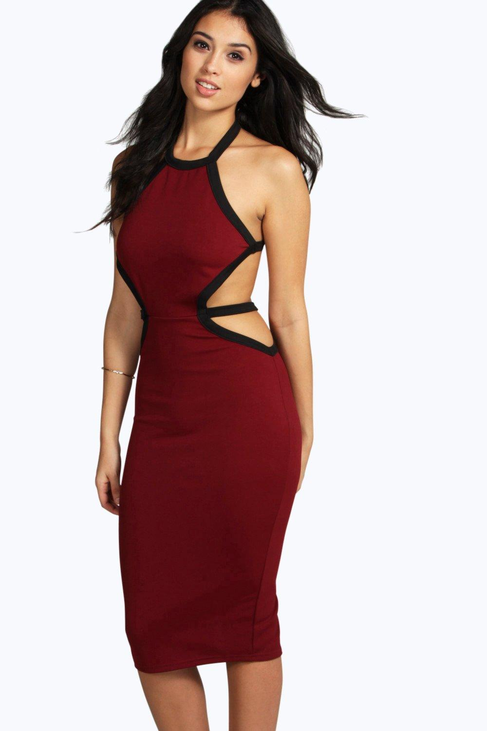Sophie Contrast Colour Midi Bodycon Dress