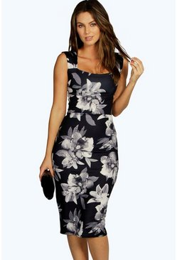 Bex Monochrome Floral Sweetheart Midi Dress