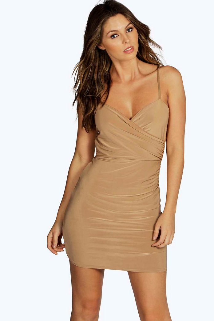Charlotte Wrap Front Ruched Skirt Mini Dress
