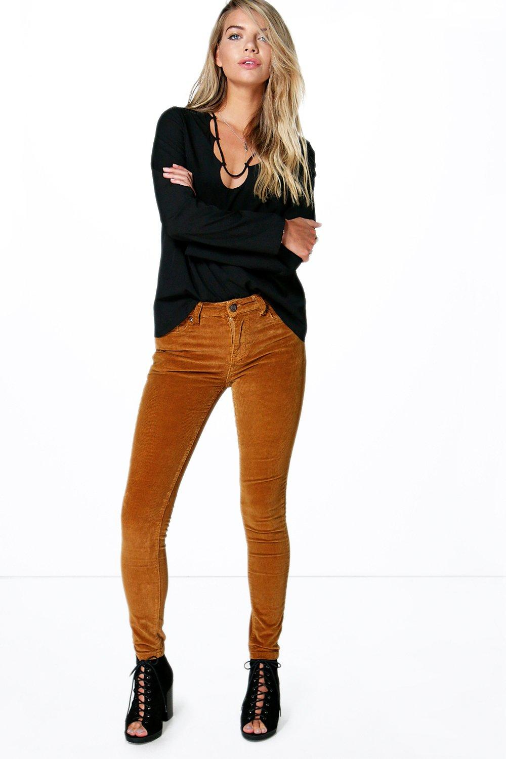 Mid Rise Cord Skinny Jeans camel