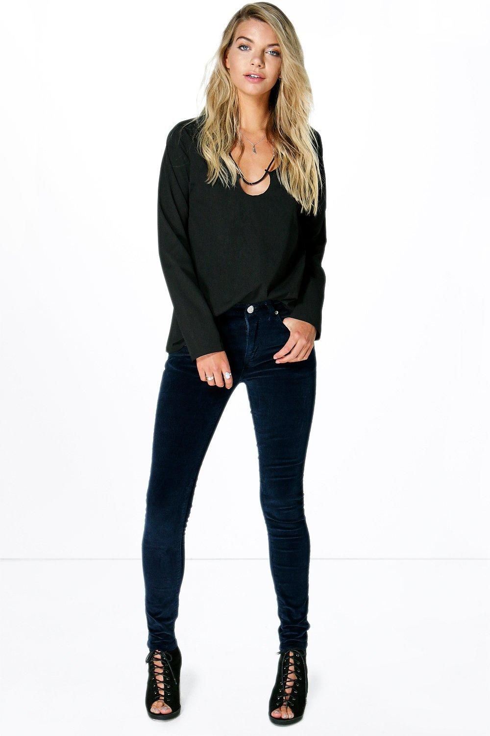 Jess Mid Rise Cord Skinny Trousers
