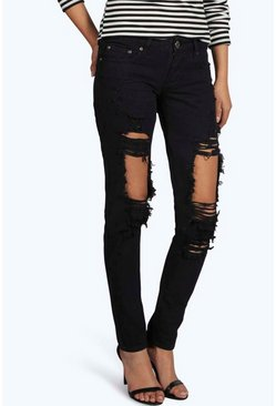Lisa Low Rise Distressed Thigh Skinny Jeans