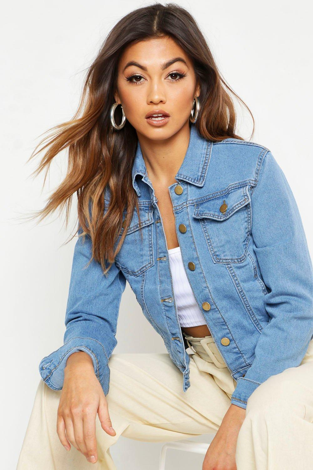 Amelia Slim Fit Denim Jacket | Boohoo