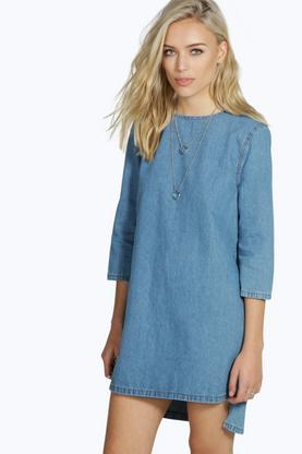 Cora Curved Hem Denim Tunic Dress